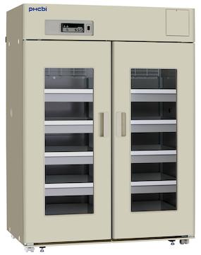 Beige medisinkjøleskap med dobbeltdører