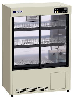 Lite medisinkjøleskap med glassvinduer og hyller